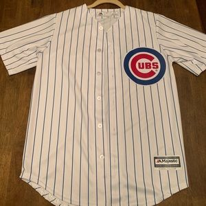 White and blue striped Cubs jersey (plain back)